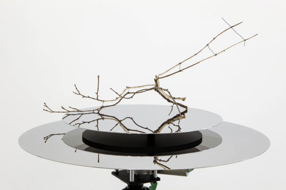 "Daniel Steegmann Mangrané, ""Rotating Table 2"", 2015, Mirrored-finish polished stainless steel discs, motor, control unit, electr"