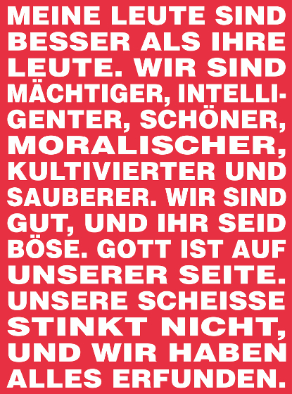 Barbara Kruger, bez tytułu, 1994/2015; Originally for the staircase of Kunsthalle Basel; Vinyl print; 310 x 230 cm; Courtesy Spr